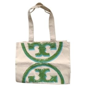 New Tory Burch Reusable Signature Logo Canvas Tote